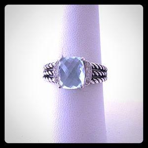 David Yurman 8 Petite Wheaton Blue Topaz Ring EUC